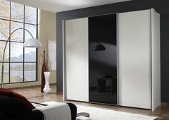 Miami 2 Sliding Door Wardrobe with Black Glass Doors  sliding door wardrobe- Blue Ocean Interiors