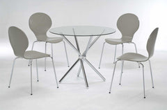 LPD FurnitureCasa Clear Glass Dining Table with 4 Stone ChairsBlue Ocean Interiors
