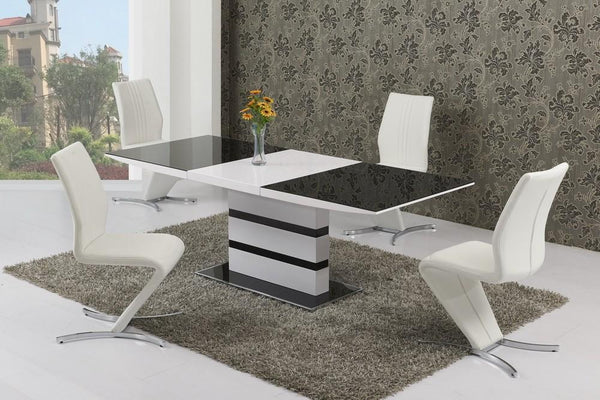 GiataliaArctic Extending Dining Table in Black Glass With 6 White Isabella ChairsBlue Ocean Interiors