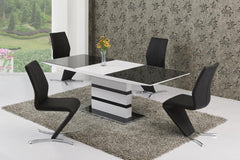 GiataliaArctic Extending Dining Table in Black Glass With 6 Black Isabella ChairsBlue Ocean Interiors