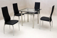 Jazo Black Glass Dining Table with 4 Chairs  glass dining tables and chairs- Blue Ocean Interiors
