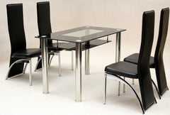 Vegas Black Glass Dining Table with 4 Chairs  glass dining tables and chairs- Blue Ocean Interiors