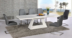 Italia Extending White Glass Dining Table with 6 Grey Chairs  glass dining tables and chairs- Blue Ocean Interiors