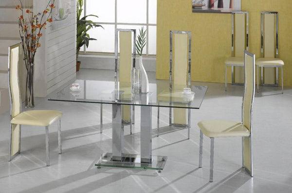 Heartlands FurnitureAnkara  Large Dining Table in Clear Glass with 4 ChairsBlue Ocean Interiors