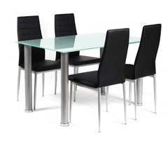 Tatum Frosted Glass Dining Table with 4 Chairs  glass dining tables and chairs- Blue Ocean Interiors