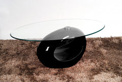 Heartlands FurnitureDale Coffee Table in Black High Gloss Frame with Clear Glass TopBlue Ocean Interiors