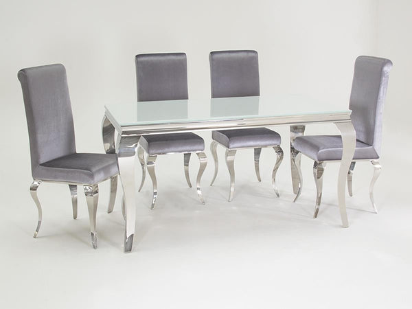 Louis White Glass Dining Table 160cm With 6 Chairs Glass Dining Tables And  Chairs  Blue
