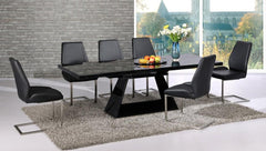Italia Extending Black Glass Dining Table with 6 Black Chairs  glass dining tables and chairs- Blue Ocean Interiors