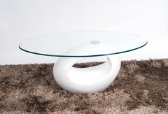 Heartlands FurnitureDale Coffee Table in White High Gloss Frame with Clear Glass TopBlue Ocean Interiors