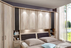 Luxor 4 Overbed Unit With 50cm Textured Doors Open Side Elements and Drawers  overbed wardrobe- Blue Ocean Interiors