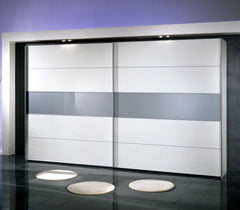 Hollywood Sliding Door Wardrobe 400cm Wide With One Centre Stripe  sliding door wardrobe- Blue Ocean Interiors