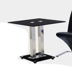 Trinity Small Dining Table in Black Glass  glass dining table- Blue Ocean Interiors
