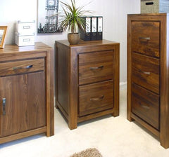 Mayan Two Drawer Filing Cabinet in Walnut  filing cabinets- Blue Ocean Interiors