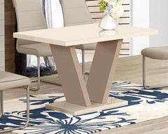 Zara Large Cream Glass Dining Table Only  glass dining table- Blue Ocean Interiors