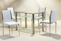 Vercelli Dining Table in Clear Glass With 4 Chairs  glass dining tables and chairs- Blue Ocean Interiors