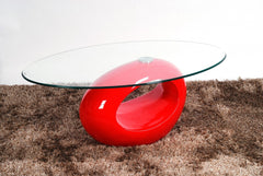 Heartlands FurnitureDale Coffee Table in Red High Gloss Frame with Clear Glass TopBlue Ocean Interiors