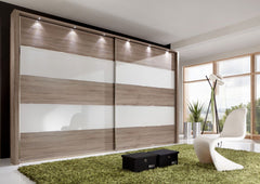 Hollywood Sliding Door Wardrobe with Glass Highlights Line 2 and 4  sliding door wardrobe- Blue Ocean Interiors