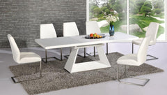 Italia Extending White Glass Dining Table with 6 White Chairs  glass dining tables and chairs- Blue Ocean Interiors