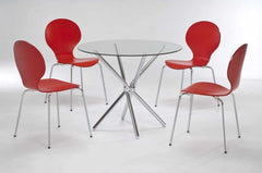 LPD FurnitureCasa Clear Glass Dining Table with 4 Red ChairsBlue Ocean Interiors