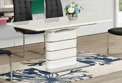 Vera White Glass Extending Dining Table Only  glass dining table- Blue Ocean Interiors