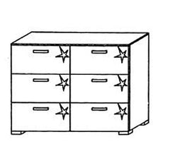 Mavi Plus 6 Drawer Chest  chest of drawers- Blue Ocean Interiors