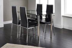 Heartlands FurnitureAndora Glass Dining Table with 4 ChairsBlue Ocean Interiors