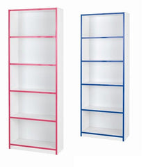 Kiddi 4 shelf bookcase with pink or blue trim  bookcase- Blue Ocean Interiors