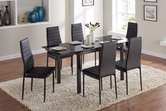 TGC FurnitureBlack Glass Table Set with 6 ChairsBlue Ocean Interiors