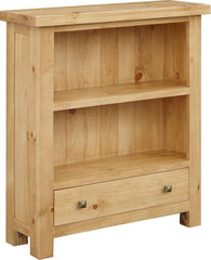 Midway Chunky Pine Low Bookcase with Drawer  bookcase- Blue Ocean Interiors