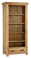 Salto Bookcase with 1 Drawer in Rustic Solid Pine  bookcase- Blue Ocean Interiors