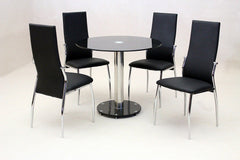 Heartlands FurnitureAlonza Dining Table in Black Glass With 4 Lazio ChairsBlue Ocean Interiors