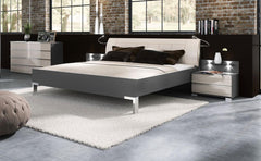 Loft 160cm Bedframe with Leather Headboard  leather bed- Blue Ocean Interiors