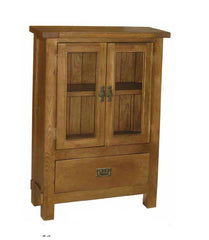 Riviera Rustic Oak DVD Unit with Glass Doors  cd dvd storage- Blue Ocean Interiors