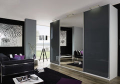 RauchBeluga Plus 3 Door Sliding Wardrobe With High Polish Doors Centre Door MirrorBlue Ocean Interiors