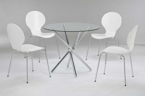 LPD FurnitureCasa Clear Glass Dining Table with 4 White ChairsBlue Ocean Interiors