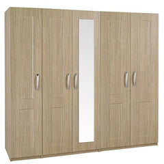 Staccato 5 Door Wardrobe with 1 Mirror  wardrobe- Blue Ocean Interiors