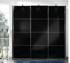 Miami 2 Sliding Door Wardrobe Black Glass Doors and 4 Sections  sliding door wardrobe- Blue Ocean Interiors