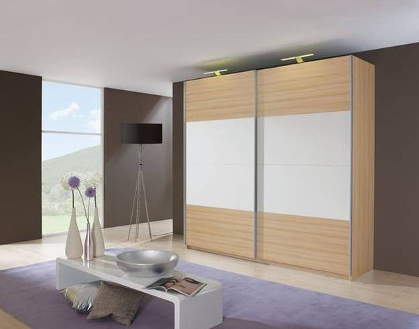 RauchBeluga Base 2 Door Sliding Wardrobe with High Polish StripeBlue Ocean Interiors
