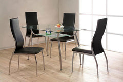 Lazio Dining Table in Clear Glass with 4 Chairs  glass dining tables and chairs- Blue Ocean Interiors