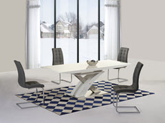 Mayfair XO White Glass Top High Gloss White Base Extending Dining Table with 6 Enzo Chairs  glass dining tables and chairs- Blue Ocean Interiors
