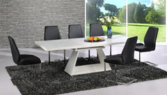 Italia Extending White Glass Dining Table with 6 Black Chairs  glass dining tables and chairs- Blue Ocean Interiors