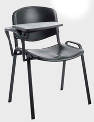 Taurus 4 x Black Frame Plastic Stacking Chairs With Writing Tablet  conference and meeting chair- Blue Ocean Interiors