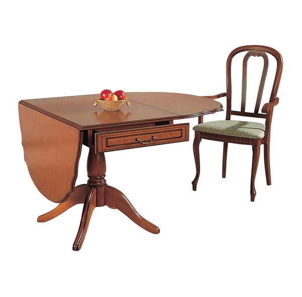 GolaCherry Single Pedestal Drop Leaf Dining Table in Cherry or MahoganyBlue Ocean Interiors