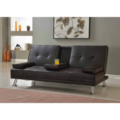 Indiana Faux Leather Sofa Bed with Cup Holders  sofa bed- Blue Ocean Interiors