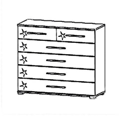 Homburg 6 Drawer Chest Table Gloss White Fronts  chest of drawers- Blue Ocean Interiors