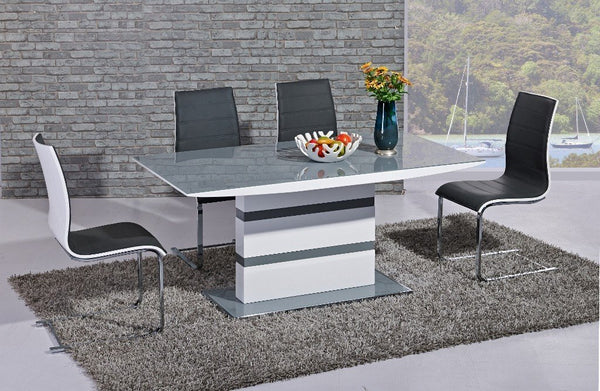 GiataliaArctic Fixed Top Grey Glass Dining Table with 4 Encore ChairsBlue Ocean Interiors