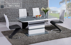 GiataliaArctic Fixed Top Grey Glass Dining Table with 4 Leona ChairsBlue Ocean Interiors