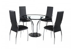 Heartlands FurnitureFarren Round Glass Dining Table with 4 ChairsBlue Ocean Interiors