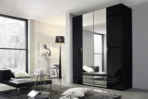 Cetina Hinged Door Wardrobe With Front Glass And Mirror