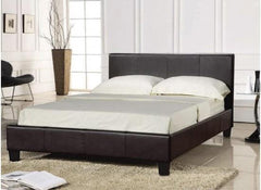 Prado 3'0'' Single Bedstead in Brown Faux Leather Finish  leather bed- Blue Ocean Interiors
